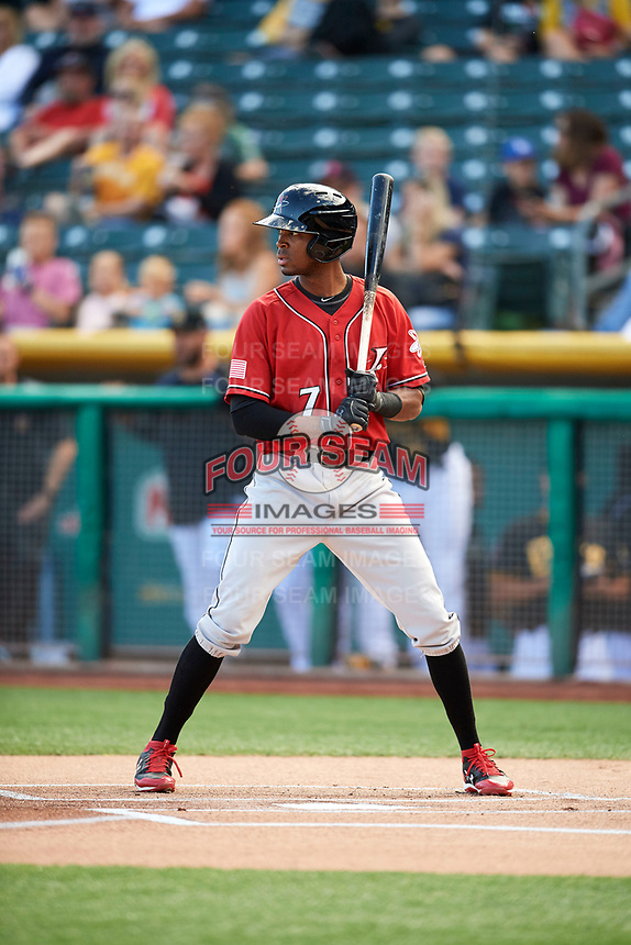 Rosell Herrera (7) of the Albuquerque Isotopes bats against the Salt Lake Bees in Pacific Coast League action at Smith's Ballpark on June 10, 2017 in Salt Lake City, Utah. The Isotopes defeated the Bees 4-2. (Stephen Smith/Four Seam Images)