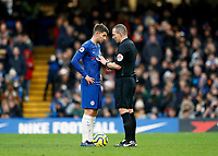 11th January 2020; Stamford Bridge, London, England; English Premier League Football, Chelsea versus Burnley; Referee Kevin Friend giving instructions to Jorginho of Chelsea before Jorginho of Chelsea Jorginho of Chelsea scores his sides 1st goal from a penalty in the 19th minute to make it 1-0 - Strictly Editorial Use Only. No use with unauthorized audio, video, data, fixture lists, club/league logos or 'live' services. Online in-match use limited to 120 images, no video emulation. No use in betting, games or single club/league/player publications