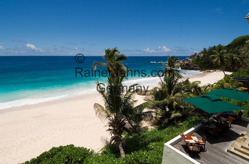 Seychelles, Island Mahe, Anse Intendance: Banyan Tree Hotel - terrace, patio<br />