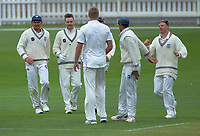 Auckland players celebrate the dismissal of Tom Blundell off the bowling of Kyle Jamieson during day one of the Plunket Shield cricket match between the Wellington Firebirds and Auckland at Basin Reserve in Wellington, New Zealand on Friday, 8 November 2019. Photo: Dave Lintott / lintottphoto.co.nz