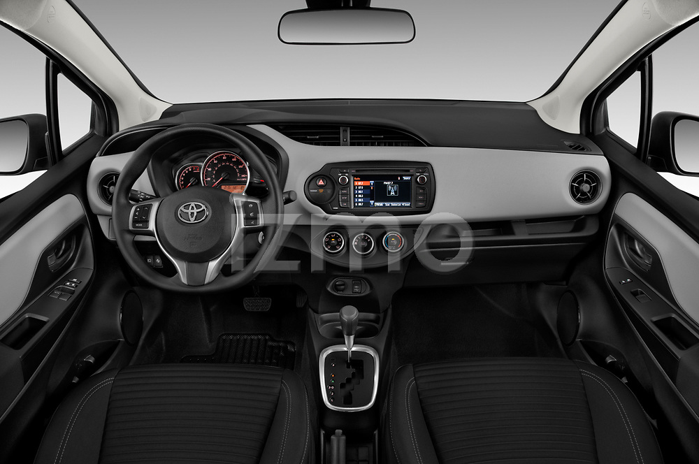 Stock photo of straight dashboard view of a 2018 Toyota Yaris L 3-Door Liftback 3 Door Hatchback