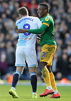 Blackburn Rovers' Joe Rothwell is held by Preston North End's Darnell Fisher<br /> <br /> Photographer Rich Linley/CameraSport<br /> <br /> The EFL Sky Bet Championship - Blackburn Rovers v Preston North End - Saturday 9th March 2019 - Ewood Park - Blackburn<br /> <br /> World Copyright © 2019 CameraSport. All rights reserved. 43 Linden Ave. Countesthorpe. Leicester. England. LE8 5PG - Tel: +44 (0) 116 277 4147 - admin@camerasport.com - www.camerasport.com