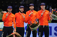 SHORT TRACK: ROTTERDAM: Ahoy, 12-03-2017, KPN ISU World Short Track Championships 2017, Podium Relay Men, Team Netherlands (Itzhak de Laat, Sjinkie Knegt, Daan Breeuwsma, Dennis Visser), World Champion, ©photo Martin de Jong