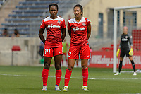 Bridgeview, IL - Saturday June 17, 2017: Francisca Ordega, Caprice Dydasco during a regular season National Women's Soccer League (NWSL) match between the Chicago Red Stars and the Washington Spirit at Toyota Park. The match ended in a 1-1 tie.