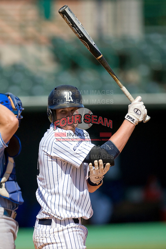 Rice Owls pinch hitter Craig Manuel #10 looks for the signals from the dugout against the Memphis TIgers in NCAA Conference USA baseball on May 14, 2011 at Reckling Park in Houston, Texas. (Photo by Andrew Woolley / Four Seam Images)