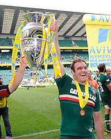 Julian Salvi of Leicester Tigers holds the trophy after the Aviva Premiership Final between Leicester Tigers and Northampton Saints at Twickenham Stadium on Saturday 25th May 2013 (Photo by Rob Munro)