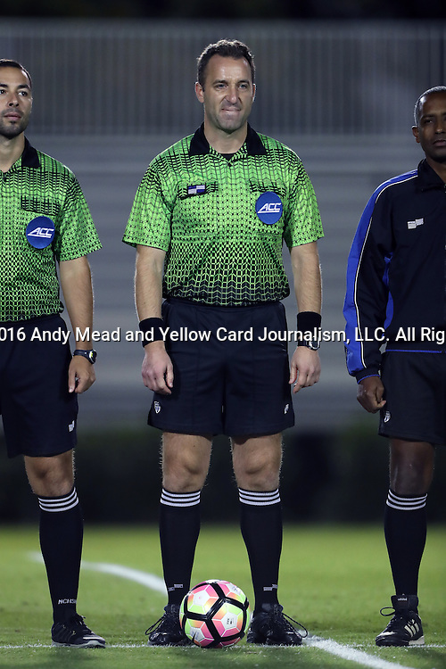 21 October 2016: Referee Nikola Aleksic. The Duke University Blue Devils hosted the University of Notre Dame Fighting Irish at Koskinen Stadium in Durham, North Carolina in a 2016 NCAA Division I Men's Soccer match. Duke won the game 2-1 in two overtimes.