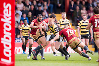 Picture by Allan McKenzie/SWpix.com - 22/04/2018 - Rugby League - Ladbrokes Challenge Cup - York City Knight v Catalans Dragons - Bootham Crescent, York, England - York's Chris Siddons is tackled by Catalans David Mead and Sam Moa.