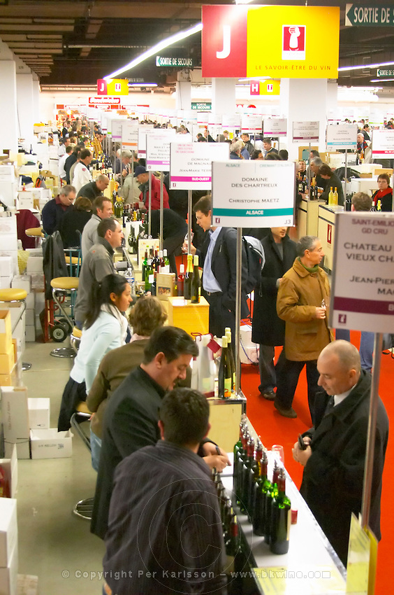 Languedoc. Banners and exhibitors at wine fair. France. Europe.