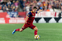 FOXBOROUGH, MA - SEPTEMBER 21: Aaron Herrera #22 of Real Salt Lake passes the ball during a game between Real Salt Lake and New England Revolution at Gillette Stadium on September 21, 2019 in Foxborough, Massachusetts.