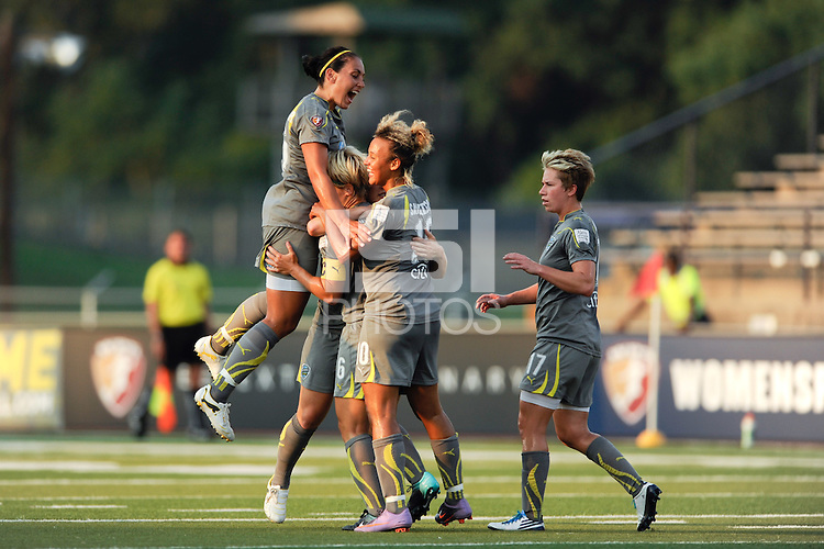 Amy Rodriguez (8) of the Philadelphia Independence celebrates scoring with teammates during a Women's Professional Soccer (WPS) match against the Chicago Red Stars at John A. Farrell Stadium in West Chester, PA, on July 28, 2010.