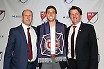 15 January 2015: Matt Polster (Southern Illinois Edwardsville) was selected seventh overall by the Chicago Fire. With technical director Brian Bliss (left) and head coach Frank Yallop (right). The 2015 MLS SuperDraft was held at the Pennsylvania Convention Center in Philadelphia, Pennsylvania.