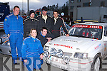 Doing some running repairs on the Vauxhall Nova  for the final stage at the Killarney Historic Rally in Killarney on Saturday were front row l-r: Edel McCarthy and Mark O'Leary Knocknagree. Back row: Denis Nagle Gneeveguilla, Charle O'Neill Killarney, Niall Walsh Newmarket and Damien Doolan