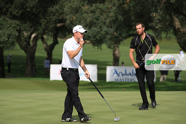 Richie Ramsey (SCO) and Oskar Henningsson (SWE) during the 1st day at the  Andalucía Masters at Club de Golf Valderrama, Sotogrande, Spain. .Picture Fran Caffrey www.golffile.ie