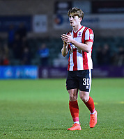 Lincoln City's Alex Woodyard applauds the fans at the end of the game<br /> <br /> Photographer Andrew Vaughan/CameraSport<br /> <br /> Vanarama National League - Lincoln City v Chester - Tuesday 11th April 2017 - Sincil Bank - Lincoln<br /> <br /> World Copyright &copy; 2017 CameraSport. All rights reserved. 43 Linden Ave. Countesthorpe. Leicester. England. LE8 5PG - Tel: +44 (0) 116 277 4147 - admin@camerasport.com - www.camerasport.com