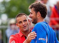 France, Paris , May 26, 2015, Tennis, Roland Garros, Doubles Haase/Youzhny(L) celebratie their win<br /> Photo: Tennisimages/Henk Koster