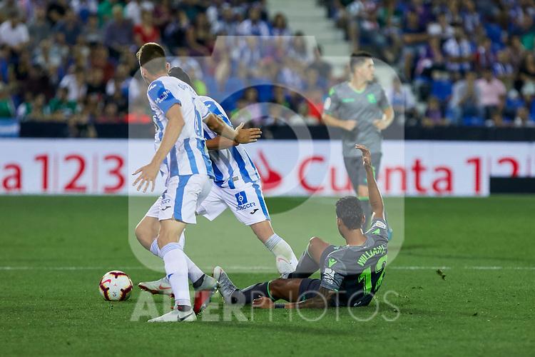 Leganes' Gerard Gumbau and Real Sociedad's Willian Jose Da Silva during La Liga match. August 24, 2018. (ALTERPHOTOS/A. Perez Meca)