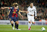 FC Barcelona's Carles Puyol (l) and Real Madrid's Cristiano Ronaldo during Copa del Rey - King's Cup semifinal second match.February 26,2013. (ALTERPHOTOS/Acero) /Nortephoto