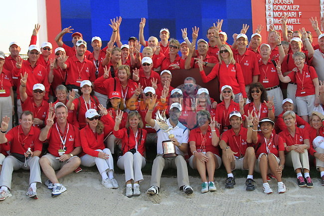 Martin Kaymer pictured with the marshalls after winning the tournament by 8 shots with a score of 24 under on the Final Day Sunday of the Abu Dhabi HSBC Golf Championship, 23rd January 2011..(Picture Eoin Clarke/www.golffile.ie)