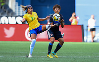Seattle, WA - Thursday July 27, 2017: Monica, Mina Tanaka during a 2017 Tournament of Nations match between the women's national teams of the Japan (JAP) and Brazil (BRA) at CenturyLink Field.