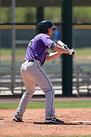 Colorado Rockies outfielder Tyler Bugner (65) shows bunt during an Extended Spring Training game against the Chicago Cubs at Sloan Park on April 17, 2018 in Mesa, Arizona. (Zachary Lucy/Four Seam Images)