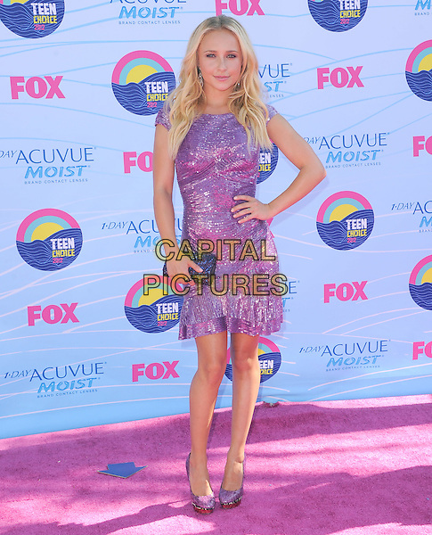 Hayden Panettiere.FOX's 2012 Teen Choice Awards held at The Gibson Ampitheatre in Universal City, California, USA..July 22nd, 2012          .full length purple sequins sequined dress hand on hip clutch bag.CAP/RKE/DVS.©DVS/RockinExposures/Capital Pictures.