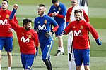 Spain's Diego Costa (l) and Gerard Pique during training session. March 21,2017.(ALTERPHOTOS/Acero)