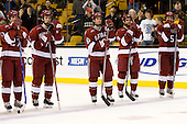 Michael Biega (Harvard 27), Chad Morin (Harvard 7), Mike Taylor (Harvard 10), Jimmy Fraser (Harvard 9), Jack Christian (Harvard 5) - The Boston College Eagles defeated the Harvard University Crimson 6-5 in overtime on Monday, February 11, 2008, to win the 2008 Beanpot at the TD Banknorth Garden in Boston, Massachusetts.