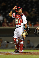 Mesa Solar Sox catcher Pedro Severino (14) during an Arizona Fall League game against the Surprise Saguaros on October 10, 2014 at Cubs Park in Mesa, Arizona.  Surprise defeated Mesa 14-3.  (Mike Janes/Four Seam Images)