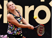 BOGOTA - COLOMBIA – 12 – 04 - 2017: Katerina Siniakova de Republica Checa, devuelve la bola a Sara Sorribes Tormo de España, durante partido por el Claro Colsanitas WTA, que se realiza en el Club Los Lagartos de la ciudad de Bogota. / Katerina Siniakova from Czech Republic, returns the ball to Sara Sorribes Tormo from Spain, during a match for the WTA Claro Colsanitas, which takes place at Los Lagartos Club in Bogota city. Photo: VizzorImage / Luis Ramirez / Staff.