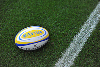 A general view of an Aviva Premiership ball on the side of the pitch. Aviva Premiership match, between London Irish and Bath Rugby on September 22, 2012 at the Madejski Stadium in Reading, England. Photo by: Patrick Khachfe / Onside Images