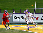 Connor Fields (#5) begins an attack as UAlbany Men's Lacrosse defeats Richmond 18-9 on May 12 at Casey Stadium in the NCAA tournament first round.