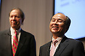 October 15, 2012, Tokyo, Japan - Softbank Corp. President Masayoshi Son (R) smiles at the end of their media conference in Tokyo on Monday, October 15, 2012. Son announced that Japanese mobile Internet company Softbank has reached a deal to acquire Sprint Nextel Corp., the third-largest mobile carrier in the U.S. for $20 billion. The deal enables Softbank to establish an operating base as one of the largest mobile Internet companies in the world, with combined mobile telecom service revenues that will rank it third amongst global operators. Softbank aims to enhance Sprint's competitiveness in the U.S. and the deal includes $8 billion of new capital for the U.S. carrier. The companies expect the closing of the transaction to occur in mid-2013 pending regulatory approvals. (Photo by Yusuke Nakanishi/AFLO)