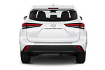 Straight rear view of a 2020 Toyota Highlander LE 5 Door SUV stock images