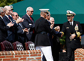 United States President George W. Bush shakes hands with the in-coming Chairman of the Joint Chiefs of Staff US Navy Admiral Michael Mullen as he participates in an Armed Forces Change of Command ceremony and official Hail and Farewell tribute in honor for Mullen and for out-going Chairman of the Joint Chiefs of Staff, US Marine Corps General Peter Pace  at Fort Myer, Virginia on October 1, 2007.  <br /> Credit: Aude Guerrucci / Pool via CNP