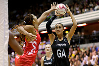 20.01.2018 Maria Folau (nee Tutaia) of Silver Ferns and Geva Mentor of the England Roses during the Netball Quad Series netball match between England Roses and Silver Ferns at the Copper Box Arena in London. Mandatory Photo Credit: ©Ben Queenborough/Michael Bradley Photography