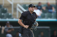 Home plate umpire Colin Baron in action during the South Atlantic League game between the Delmarva Shorebirds and the Kannapolis Intimidators at Kannapolis Intimidators Stadium on June 3, 2019 in Kannapolis, North Carolina. The Shorebirds defeated the Intimidators 5-3. (Brian Westerholt/Four Seam Images)