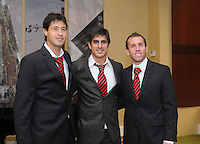 From left to right DC United midfielder Branko Boskovic, defender Rodrigo Brasesco, midfielder Kurt Morsink, at the 2011 Season Kick off Luncheon, at the Marriott Hotel in Washington DC, Wednesday March 16 2011.