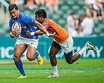 Samoa vs Sri Lanka on Bowl Quarter Final during the Cathay Pacific / HSBC Hong Kong Sevens at the Hong Kong Stadium on 30 March 2014 in Hong Kong, China. Photo by Juan Flor / Power Sport Images