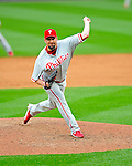 13 April 2009: Philadelphia Phillies' pitcher Scott Eyre on the mound during the Washington Nationals' Home Opener at Nationals Park in Washington, DC. The Nats fell short in their 9th inning rally, losing 9-8, as the visiting Phillies handed the Nats their 7th consecutive loss of the 2009 season. Mandatory Credit: Ed Wolfstein Photo