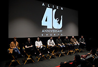 """LOS ANGELES, CA - MARCH 26: ALIEN 40TH ANNIVERSARY SHORTS SERIES SCREENING: (L-R) Filmmakers Kelsey Taylor,Sam Spear, Kailey Spear, Aidan Brezonick, Benjamin Howdeshell, Chris Reading, Noah Miller, and moderator Jim Vejvoda, Executive Editor  of IGN Movies attend a screening of """"Alien 40th Anniversary Shorts"""" to celebrate the 40th anniversary of ALIEN at the James Blakeley Theater on March 26, 2019 in Los Angeles, California. Twentieth Century Fox Film partnered with global creative community Tongal to offer die-hard fans an opportunity to develop and produce wholly original short films set in the world of ALIEN. (Photo by Frank Micelotta/Fox/PictureGroup)"""