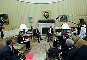 (L-R) Sec. Shaun Donovan, Deputy Homeland Security Advisor OMB Amy Pope, Vice President Joe Biden, US President Barack Obama, Secretary of Health and Human Services Sylvia Mathews Burwell, Director of the Centers for Disease Control and Prevention Dr. Tom Frieden, Director of NIH/NIAID Dr. Anthony Fauci  sit in the Oval Office of the White House, May 20, 2016, after a briefing on the ongoing response to the Zika virus.<br /> Credit: Aude Guerrucci / Pool via CNP