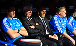 Ziendine Zidane and Carlo Ancellotti gestures during the Spanish league football match Real Madrid CF vs Valencia CF at the Santiago Bernabeu stadium in Madrid on May 4, 2014. PHOTOCALL3000/