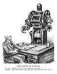 "The Saving of Labour. The Robot. "" Master, I can do the work of fifty men."" Employer. "" Yes, I know that, but who is to support the fifty men?"" (an employer speaks to his robot of his plans for 1933 while at his desk are the papers Production, Costs, Wages, Output)"