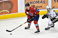 HERSHEY, PA - DECEMBER 01: Springfield Thunderbirds forward Paul Thompson (15) looks for a pass in the offensive zone during the Springfield Thunderbirds at Hershey Bears on December 1, 2018 at the Giant Center in Hershey, PA. (Photo by Randy Litzinger/Icon Sportswire)