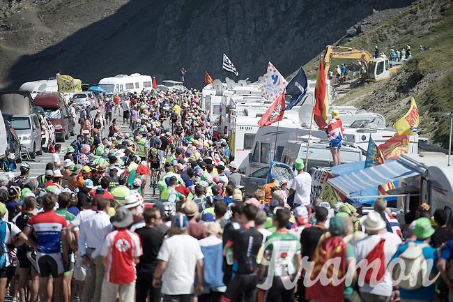 finding a way up the Col du Tourmalet (HC/2115m/17km/7.3%) between the many fans blocking the road<br /> <br /> st11: Pau - Cauterets (188km)<br /> 2015 Tour de France