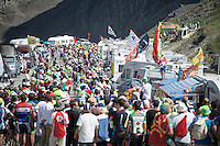 finding a way up the Col du Tourmalet (HC/2115m/17km/7.3%) between the many fans blocking the road<br /> <br /> st11: Pau - Cauterets (188km)<br /> 2015 Tour de France