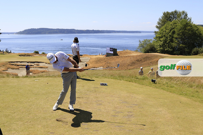 Graeme McDOWELL (NIR) tees off the 12th tee during Wednesday's Practice Day of the 2015 U.S. Open 115th National Championship held at Chambers Bay, Seattle, Washington, USA. 6/17/2015.<br /> Picture: Golffile | Eoin Clarke<br /> <br /> <br /> <br /> <br /> All photo usage must carry mandatory copyright credit (&copy; Golffile | Eoin Clarke)