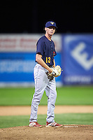 State College Spikes relief pitcher Brady Bowen (13) gets ready to deliver a pitch during a game against the Batavia Muckdogs on June 22, 2016 at Dwyer Stadium in Batavia, New York.  State College defeated Batavia 11-1.  (Mike Janes/Four Seam Images)