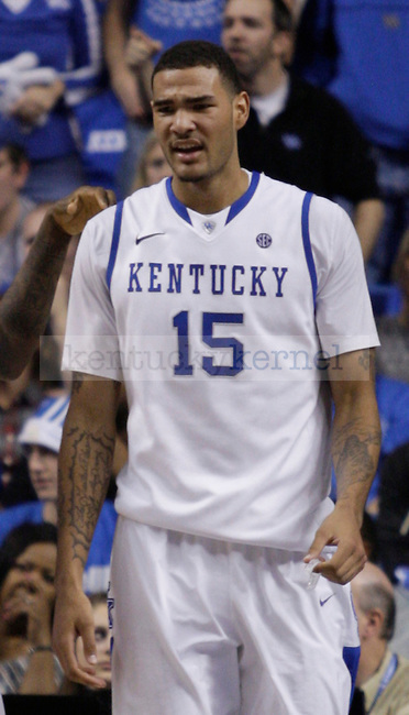 Freshman forward Willie Cauley-Stein reactions to a call during the second half of the game between the University of Kentucky and Baylor University, on Saturday, Dec. 1, 2012 at Rupp Arena, in Lexington, Ky. Baylor won 64-55. Photo by Latara Appleby | Staff